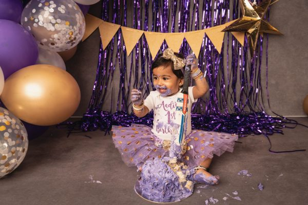 Purple, Gold and White Cake Smash Brisbane